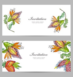 invitation cards with exotic abstract flowers for vector image vector image