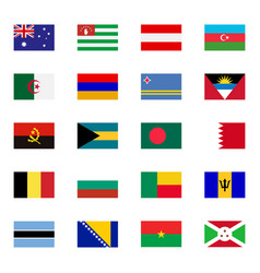 world flat flags icons set vector image