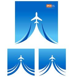 airplane flight travel air fly cloud sky blue vector image