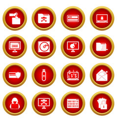 criminal activity icon red circle set vector image vector image
