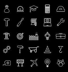 engineering line icons on black background vector image