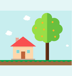 house and orange tree in gaming style vector image vector image