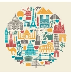 Icons world tourist attractions vector image vector image