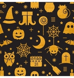 Seamless halloween gold textured pattern vector