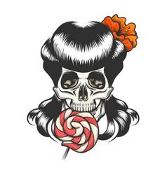 skull with lollipop vector image