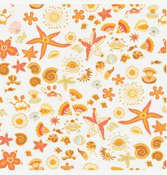 Doodle kids sea animals seamless pattern vector