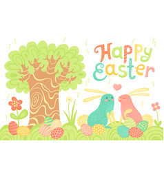 happy easter festive postcard with rabbits painted vector image