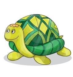 Happy little cartoon turtle smiling vector image