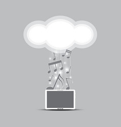 music cloud computing concept vector image vector image