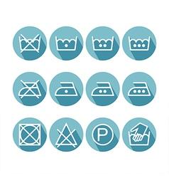 Set of flat instruction laundry icons washing vector image