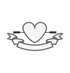 silhouette heart crossed by arrow and label vector image vector image