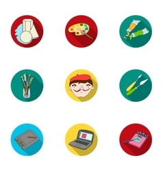 Artist and drawing set icons in flat style big vector