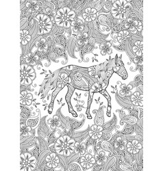 coloring page in zentangle inspired style running vector image vector image