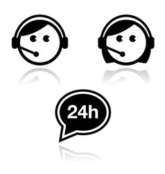 Customer service icons set - call center agents vector image vector image