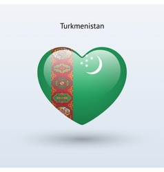 Love Turkmenistan symbol Heart flag icon vector image