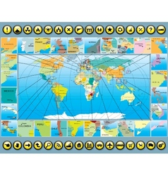 Map Elements with World Map vector image vector image