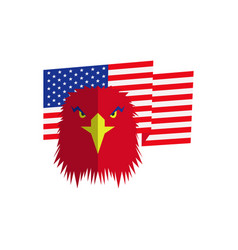 Red eagle head and american flag vector