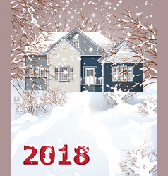 vintage house winter snowy background vector image