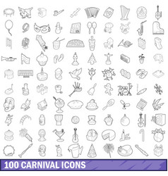 100 carnival icons set outline style vector image