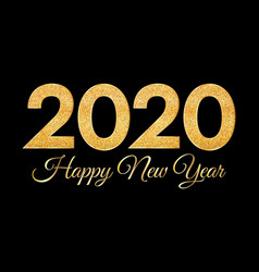 2020 happy new year golden numbers on dark vector image