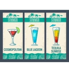 alcohol cocktail set cosmopolitan blue lagoon vector image