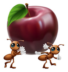 Ants carrying a big apple vector