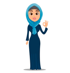 Arabic woman showing ok gesture cute vector