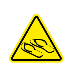attention slippers caution beach shoes yellow vector image