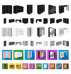 bedroom furniture flat icons in set collection for vector image