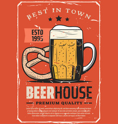 Beer brewery house best town pub bar retro poster vector