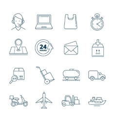 big linear Icons set of logistics and vector image