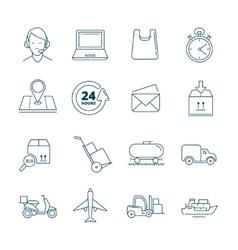 Big linear icons set of logistics vector