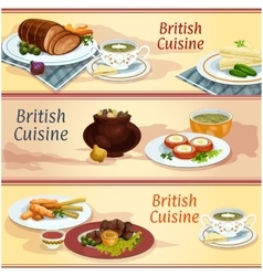 British cuisine main and snack dishes banner set vector image