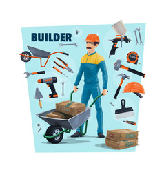 Builder construction worker and tools vector
