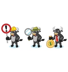 Bull Black Mascot with money vector
