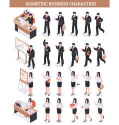 Business characters isometric set vector