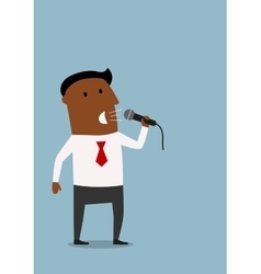 Businessman on the presentation with microphone vector