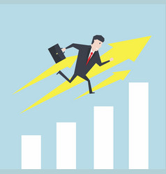 businessman runs up the growth chart vector image