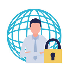 businessman world security vector image