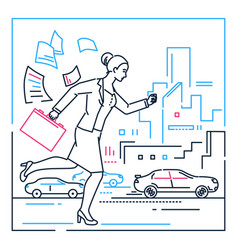 businesswoman late for a meeting - line design vector image
