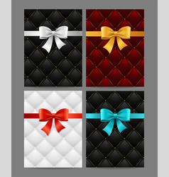 card silk ribbon bow and quilted background set vector image