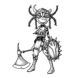 Cartoon image of female viking vector