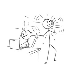 Cartoon of office worker disturbed but phone vector