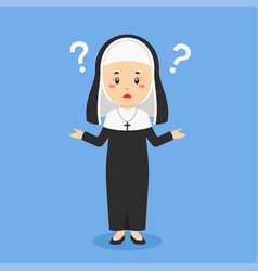 Catholic nun confused with question mark vector