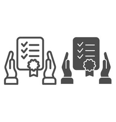 Certificate in hands line and glyph icon warranty vector