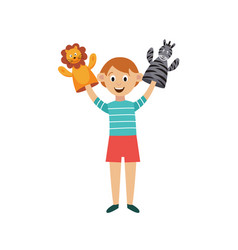 Child performs puppet-show with hands puppets vector