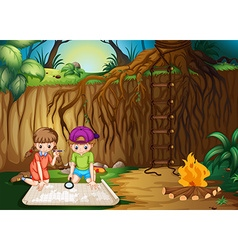 Children looking at map in the jungle vector