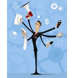 Concept of multitasking businessman vector image