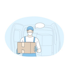contactless delivery courier online order vector image