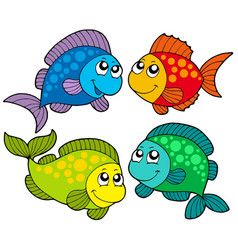 cute cartoon fishes collection vector image